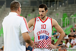 Jasmin Repesa, head coach of Croatia and Luka Babic of Croatia during friendly basketball match between National teams of Croatia and Serbia of Adecco Ex-Yu Cup 2012 as part of exhibition games 2012, on August 3rd, 2012, in Arena Stozice, Ljubljana, Slovenia. (Photo by Urban Urbanc / Sportida)