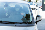 man in car with a 3M mask during the Covid 19 crisis and lockdown France Limoux April 2020