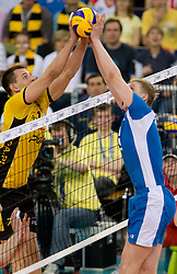 Bartosz Kurek of Belchatow vs Sergey Grankin of Dinamo at 1st Semifinal match of CEV Indesit Champions League FINAL FOUR tournament between PGE Skra Belchatow, Poland and Dinamo Moscow, Russia, on May 1, 2010, at Arena Atlas, Lodz, Poland. (Photo by Vid Ponikvar / Sportida)