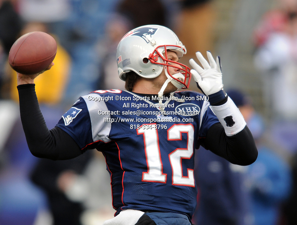 Jan. 22, 2012 - Foxborough, MA, USA - New England Patriots quarterback Tom Brady warms up prior to the start of the AFC Championship game on Sunday, January 22, 2012, in Foxborough, Massachusetts.