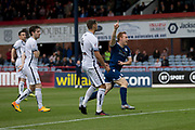 14th September 2019; Dens Park, Dundee, Scotland; Scottish Championship, Dundee Football Club versus Alloa Athletic; Danny Johnson of Dundee celebrates after scoring for 1-0 in the 1st minute