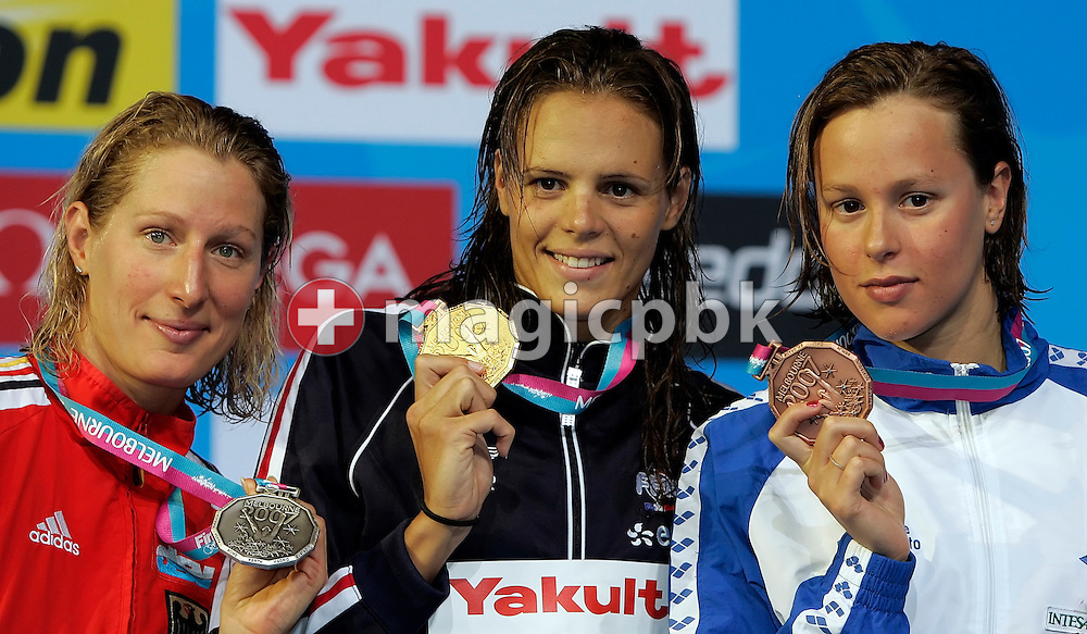 (L-R) Second placed Annika Lurz (f.k.a. Liebs), winner Laure Manaudou of France and third placed Frederica Pellegrini of Italy show their medals during the award ceremony for the women's 200m freestyle final in the Susie O'Neill pool at the FINA Swimming World Championships in Melbourne, Australia, Wednesday 28 March 2007. (Photo by Patrick B. Kraemer / MAGICPBK)