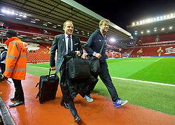 LIVERPOOL, ENGLAND - Wednesday, March 2, 2016: Liverpool's manager Jürgen Klopp arrives with player liaison officer Ray Haughan before the Premier League match against Manchester City at Anfield. (Pic by David Rawcliffe/Propaganda)