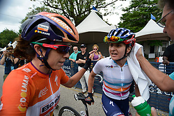 Winner MEGAN GAURNIER and 2013-2014 winner EVELYN STEVENS, both with team Boels-Dolmans Cycling Team go over the final climb after finishing UCI Women's World Tour Philadelphia Cycling Classic on Sunday June 5th, 2016. Pro-cyclist compete at a 73.8miles/118.7km course in Philadelphia Pennsylvania