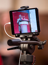 © Licensed to London News Pictures. 14/04/2016. London, UK. An iPad recording Leader of the Labour Party JEREMY CORBYN deliver a speech arguing the case for Britain remaining in Europe, at Senate House in London. The Uk is due to vote in and in out referendum in their membership of the EU on June 23rd, 2016.  Photo credit: Ben Cawthra/LNP