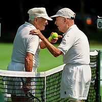 "fragm  ""Hey Young Fella!"" -Sr. Tennis player Dan Bushnell, age 91 of Massachusetts(AT RIGHT), congratulates Albert Gaskill age 90 yrs 10 months(LEFT) of North Carolina Who Bushnell called ""Young Fella"" after Gaskill beat him in the semi-finals at Brookline,MA."