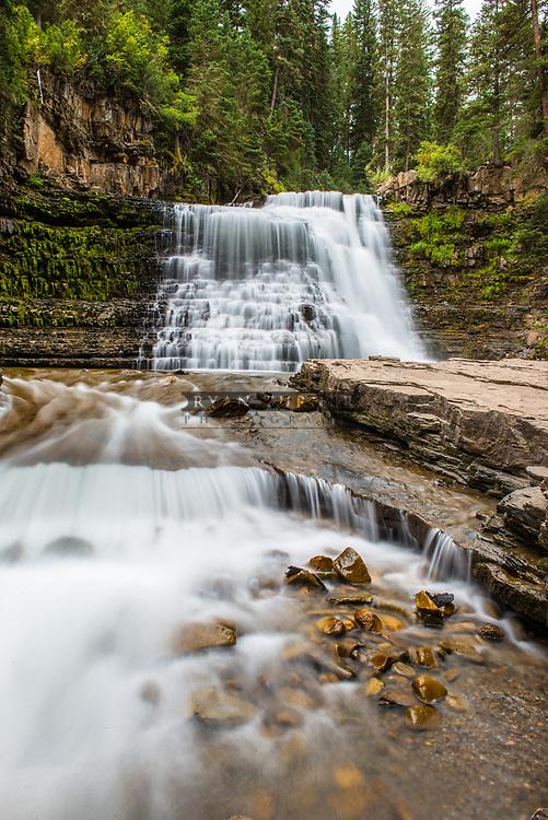 Ousel Falls flowing in summer in Big Sky, Montana.