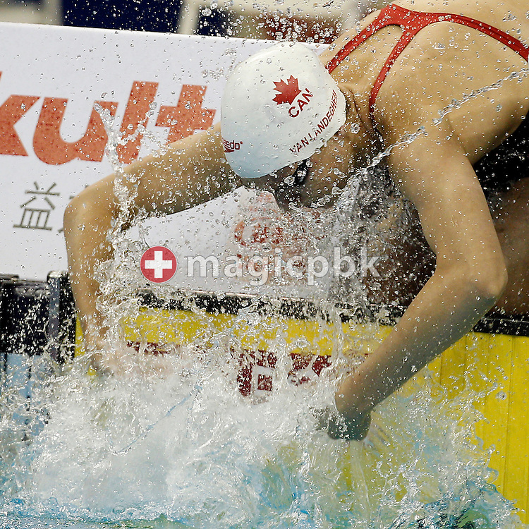 Chantal VAN LANDEGHEM of Canada prepares herself before competing in the women's 100m Freestyle Heats during the 14th FINA World Aquatics Championships at the Oriental Sports Center in Shanghai, China, Thursday, July 28, 2011. (Photo by Patrick B. Kraemer / MAGICPBK)