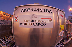 British Airways cargo container ready for loading at Houston's Intercontinental Airport