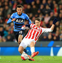 Philipp Wollscheid of Stoke City is chased by Dele Alli of Tottenham Hotspur  - Mandatory by-line: Matt McNulty/JMP - 18/04/2016 - FOOTBALL - Britannia Stadium - Stoke, England - Stoke City v Tottenham Hotspur - Barclays Premier League