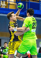 10.12.2017, BSFZ Suedstadt, Maria Enzersdorf, AUT, HLA, SG INSIGNIS Handball WESTWIEN vs Bregenz Handball, Hauptrunde, 16. Runde, im Bild Lukas Frühstück (Bregenz Handball), Gabor Hajdu (SG INSIGNIS Handball WESTWIEN) // during Handball League Austria 16 th round match between SG INSIGNIS Handball WESTWIEN and Bregenz Handball at the BSFZ Suedstadt, Maria Enzersdorf, Austria on 2017/12/10, EXPA Pictures © 2017, PhotoCredit: EXPA/ Sebastian Pucher