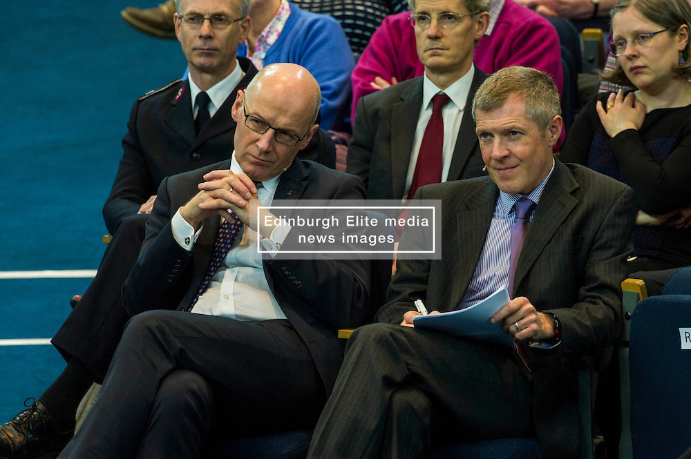 Pictured: John Swinney and Willie Rennie<br /> <br /> The People Politics Hustings,  organised by the Church of Scotland, allowed voters to question SNP deputy John Swinney, Scottish Labour leader Kezia Dugdale, Scottish Liberal Democrat leader Willie Rennie, Scottish Greens co-convener Patrick Harvie and former Scottish Conservatives leader Annabel Goldie ahead of the Scottish Elections. Before the politicians had a chance to speak they had a chance to listen to five speakers with different viewpoints on how Scotland has supported them in the past and how it should support them in the future..<br /> Ger Harley   EEm 4 April 2016