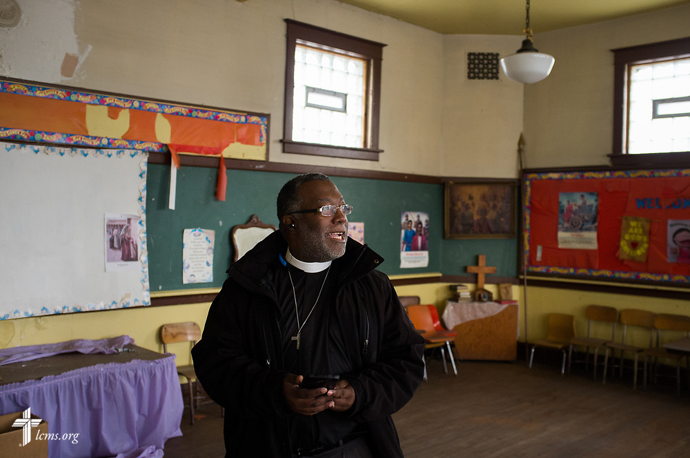 The Rev. Delwyn Campbell, national missionary to Gary, Ind., tours a classroom at his former parish school on Wednesday, April 5, 2017, attached to St. John's Lutheran Church in Gary. LCMS Communications/Erik M. Lunsford
