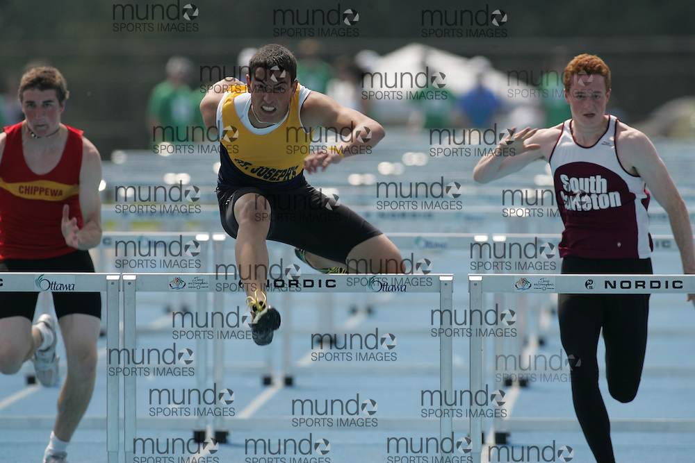 \o competing in the senior boys 110m hurdles final at the 2007 OFSAA Ontario High School Track and Field Championships in Ottawa.