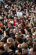 Crowd waiting before Barack Obamas speech which took place on Sunday the 5th of April at Hradcanske square in front of Prague castle in Czech Republic.