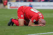 York City midfielder Russell Penn misses the target  during the Sky Bet League 2 match between York City and Mansfield Town at Bootham Crescent, York, England on 29 August 2015. Photo by Simon Davies.