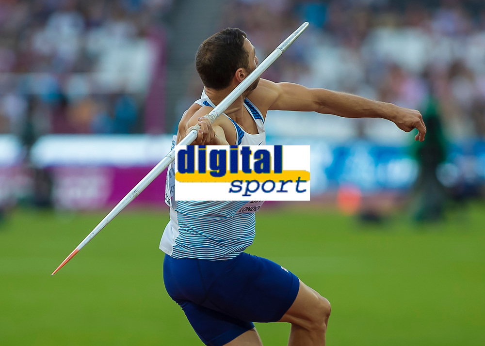 Athletics - 2017 IAAF London World Athletics Championships - Day Nine, Evening Session<br /> <br /> Mens Decathlon - Javelin<br /> <br /> Ashley Bryant (Great Britain)launches the javelin at the London Stadium<br /> <br /> COLORSPORT/DANIEL BEARHAM