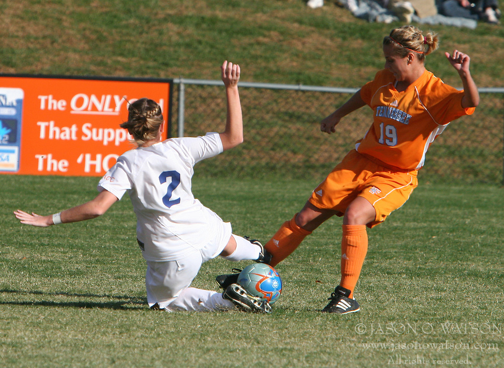 Jen Redmond (2) makes a play on the ball against Tennessee.  UVA won this second round NCAA tournament match 3-0.