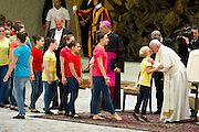 Vatican City jun 16th 2016, pope attends to a meeting with the participants in the Jubilee of the World of Travelling Shows at Paul VI audience hall . In the picture Pope Francis during circus performers show - © PIERPAOLO SCAVUZZO