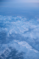 Winter in Sierra Nevada Mountains Aerial, California
