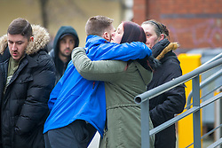 "© Licensed to London News Pictures. 05/02/2018. Liverpool, UK. Tom Evans (centre, blue coat) father of Alfie Evans is greeted by reporters as he arrives at Liverpool Civil & Family Court this morning. Tom Evans and Kate James from Liverpool are in dispute with medics looking after their son 19-month-old son Alfie Evans, at Alder Hey Children's Hospital in Liverpool. Alfie is in a ""semi-vegetative state"" and had a degenerative neurological condition doctors have not definitively diagnosed. Specialists at Alder Hey say continuing life-support treatment is not in Alfie's best interests but the boy's parents want permission to fly their son to a hospital in Rome for possible diagnosis and treatment. Photo credit: Andrew McCaren/LNP"