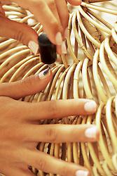 Woman Applying Nail Varnish, Close-up View