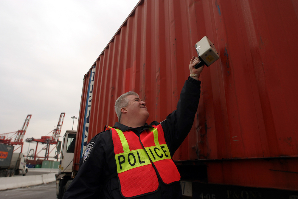 The Department of Homeland Security carrries out the Container Security Initiative using radiological detection equiptment to identify nuclaer material at the Port Newark Container Terminal LLC (PNCT) on Thursday, March 9, 2006.  Dubai Ports World is at the center of the Washington controversy over whether the firm, owned by Dubai, should take over managing six major ports in the United States.