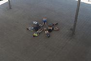 France.  Marseille. Giant mirror. Vieux port Pavillon by Foster and partners / marseille le vieux port / L'ombiere. Miroir géant sur le Vieux-Port de Marseille.  jeu de miroir sur le vieux port