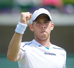 LONDON, ENGLAND - Wednesday, June 24, 2009: Dudi Sela (ISR) during the Gentlemen's Singles 2nd Round match on day three of the Wimbledon Lawn Tennis Championships at the All England Lawn Tennis and Croquet Club. (Pic by David Rawcliffe/Propaganda)