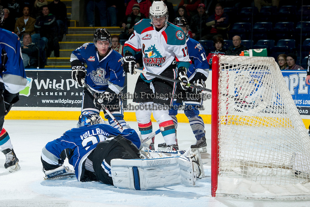 KELOWNA, CANADA -FEBRUARY 8: Coleman Vollrath #35 of the Victoria Royals allows a goal in the first period against the Kelowna Rockets on February 8, 2014 at Prospera Place in Kelowna, British Columbia, Canada.   (Photo by Marissa Baecker/Getty Images)  *** Local Caption *** Coleman Vollrath;
