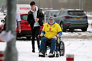 MK Dons fan in a wheelchair arriving at the stadium in the snow before the EFL Sky Bet League 1 match between Milton Keynes Dons and Bristol Rovers at stadium:mk, Milton Keynes, England on 3 March 2018. Picture by Nigel Cole.
