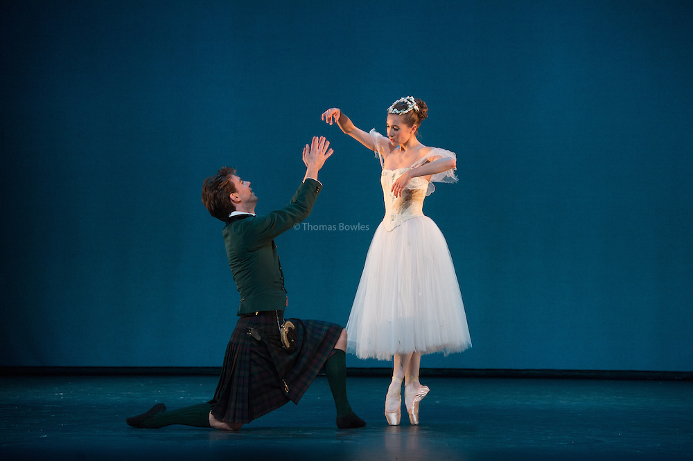 London, UK. 9th January 2015. The Royal Danish Ballet Soloists and Principals perform  works by the 19th century Choreographer and ballet master August Bournonville. <br /> Gudrun Bojesen as the Sylph and Ulrik Birkkjaer as James.