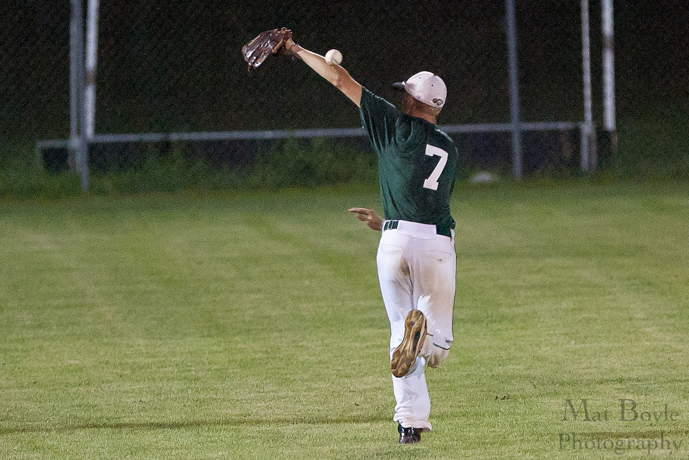 West Deptford's shortstop Ty Castellano misses a catch in centerfield during the opening round of the Mid-Atlantic Senior League regional tournament held in West Deptford on Friday, August 5.