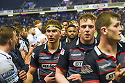 Victorious Edinburgh players leave the pitch after winning the Guinness Pro 14 2017_18 match between Edinburgh Rugby and Glasgow Warriors at Myreside Stadium, Edinburgh, Scotland on 28 April 2018. Picture by Kevin Murray.