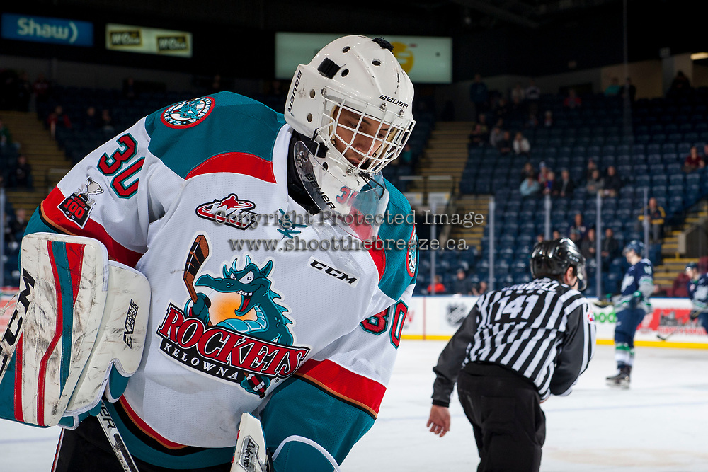 KELOWNA, CANADA - JANUARY 5: Roman Basran #30 of the Kelowna Rockets skates on the ice during warm up against the Seattle Thunderbirds on January 5, 2017 at Prospera Place in Kelowna, British Columbia, Canada.  (Photo by Marissa Baecker/Shoot the Breeze)  *** Local Caption ***
