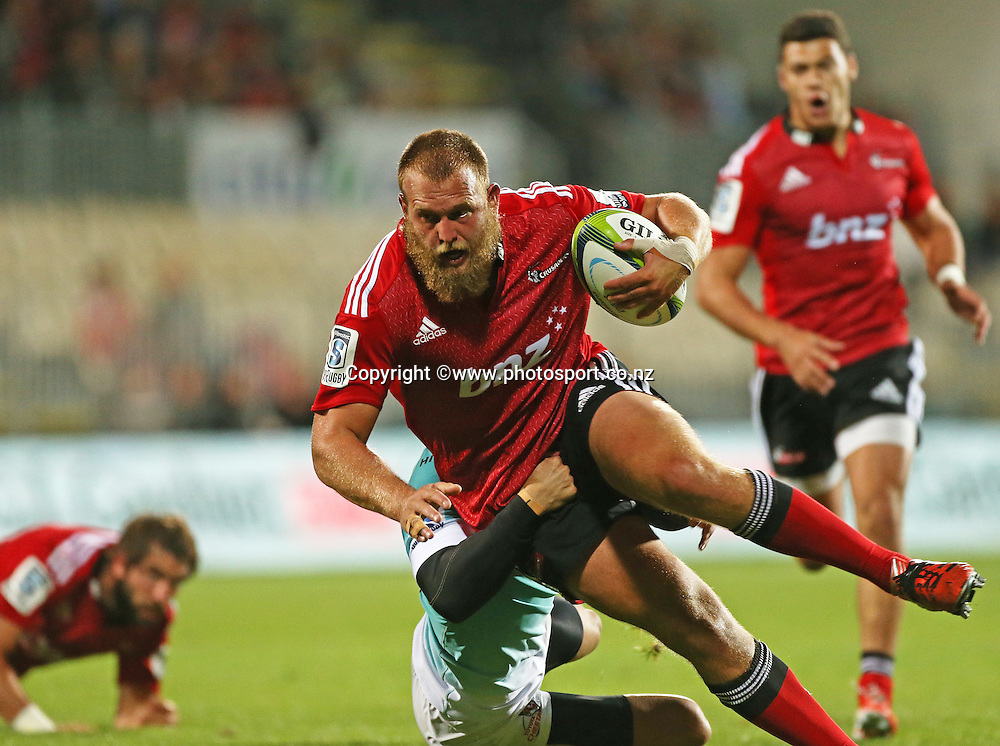 Joe Moody of the Crusaders during the Investec Super Rugby game between the Crusaders v Cheetahs at AMI Stadium in Christchurch. 21 March 2015 Photo: Joseph Johnson/www.photosport.co.nz