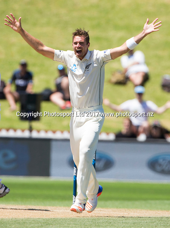 New Zealand's Tim Southee. New Zealand Blackcaps v Bangladesh, ANZ International Cricket, Final Day of the 1st test, Basin Reserve, Wellington, New Zealand. Monday, 16 January, 2017. Copyright photo: John Cowpland / www.photosport.nz