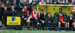 NORWICH, ENGLAND - Saturday, September 29, 2012: Liverpool's manager Brendan Rodgers with goalkeeper Brad Jones and Jamie Carragher against Norwich City during the Premiership match at Carrow Road. (Pic by David Rawcliffe/Propaganda)