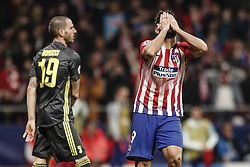 February 20, 2019 - Madrid, Spain - Diego Costa (Atletico de Madrid)  frustrated as he missed a good goal scoring chance   UCL Champions League match between Atletico de Madrid vs Juventus at the Wanda Metropolitano stadium in Madrid, Spain, February 20, 2019  (Credit Image: © Enrique De La Fuente/NurPhoto via ZUMA Press)
