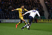 Fulhams Rohan Ince and Prestons Adam Reach battle during the Sky Bet Championship match between Preston North End and Fulham at Deepdale, Preston, England on 5 April 2016. Photo by Pete Burns.