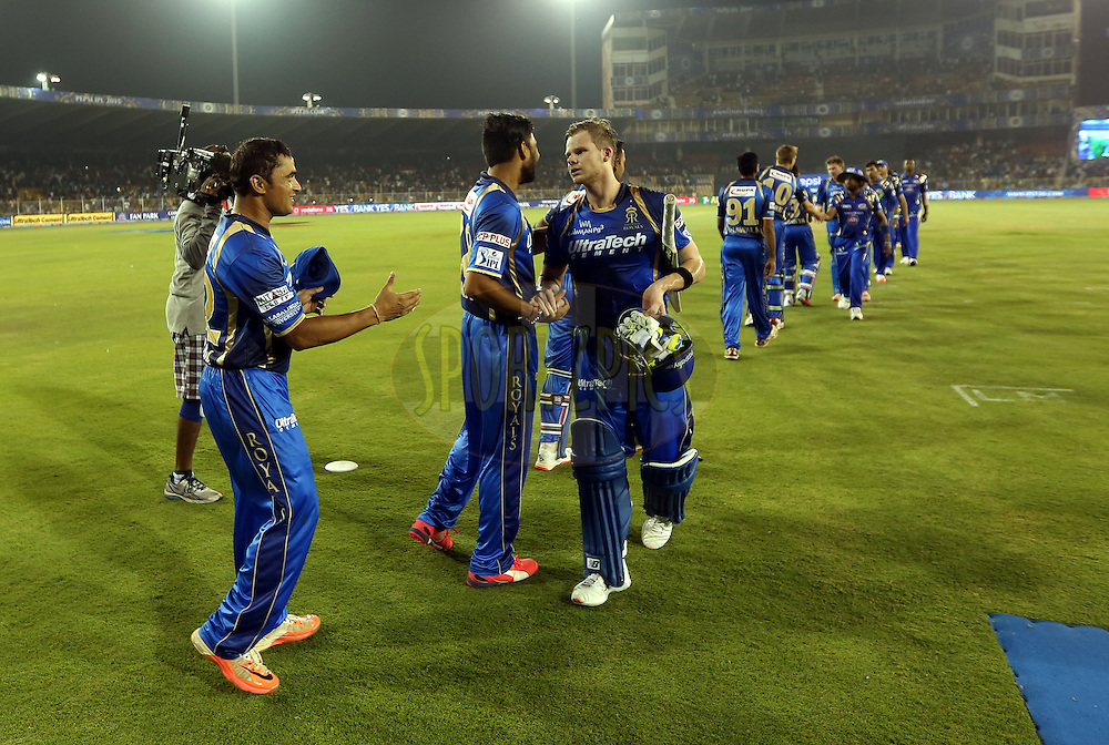Rajasthan Royals players and Mumbai Indians players hsakes hand after the match 9 of the Pepsi IPL 2015 (Indian Premier League) between The Rajasthan Royals and The Mumbai Indians held at the Sardar Patel Stadium in Ahmedabad , India on the 14th April 2015.<br /> <br /> Photo by:  Sandeep Shetty / SPORTZPICS / IPL