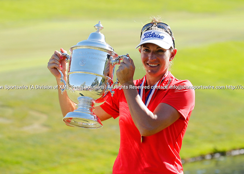 10 Jul 2016: The 2016 US Women's Open Champion, Brittany Lang holds up the Harton S. Semple Trophy for the fans and media after winning the LPGA-US Women's Open at CordeValle Golf Club in San Martin, CA. (Photo by Larry Placido/Icon Sportswire)