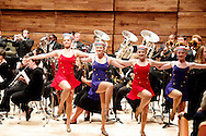 WSU dance majors form a kick line as the Wind Symphony play the Stars and Strips Forever in the brand new Schuster Hall during the 13th Annual ArtsGala at Wright State University's Creative Arts Center, Saturday, March 31, 2012.