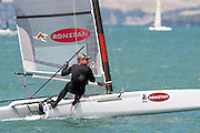 Chris Nicholson (AUS1003),  race four of the A Class World championships regatta being sailed at Takapuna in Auckland. 12/2/2014