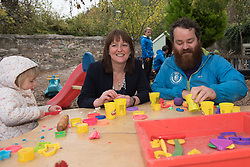 Scottish Children's minister Maree Todd visited Highland Fling nursery in Portobello and met with some male practitioners on a day when more funding was announced to encourage men into childcare jobs. Maree Todd with Robbie Smith <br /> © Jon Davey/ EEm