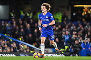 Chelsea Defender David Luiz in action during the Premier League match between Chelsea and Newcastle United at Stamford Bridge, London, England on 12 January 2019.