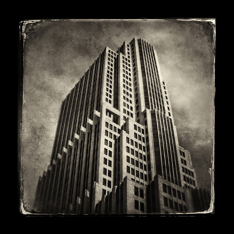 """Charles Blackburn image of the NBC building in Chicago, IL. 5x5"""" print."""