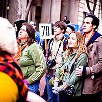 Supporters of Tim DeChristopher protest outstide the Federal Court where his trial is taking place.  Tim DeChristopher is facing ten years in prison on two felony charges for derailing an illegal sale of public land from the outgoing Bush administration to private oil and gas developers.