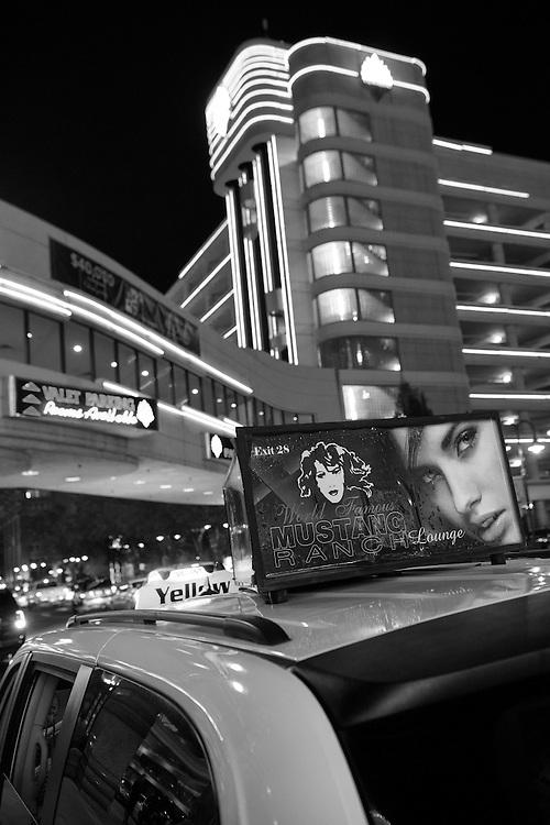 USA, Nevada, Reno,cab at night