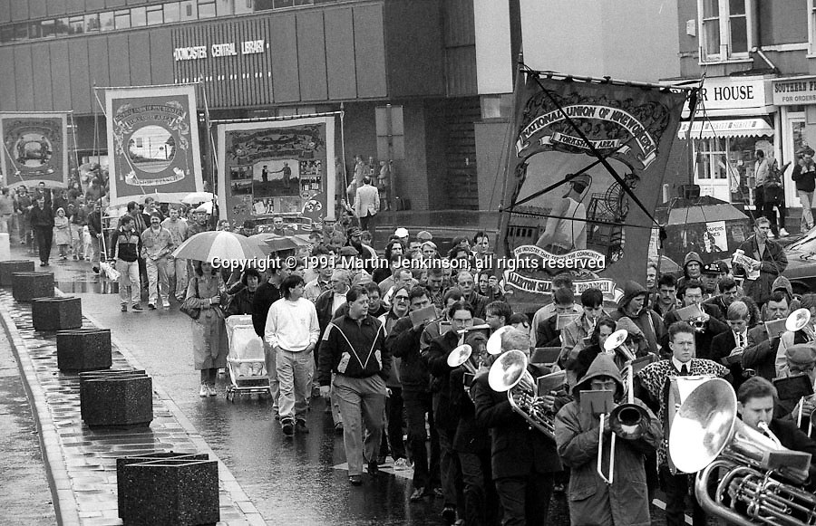 Allerton Silkstone, Riccall, Wistow and Whitemoor Branch banners. 1991 Yorkshire Miners Gala. Doncaster.